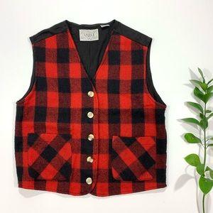 VISION 1 Red & Black Buffalo Check Plaid Wool Vest